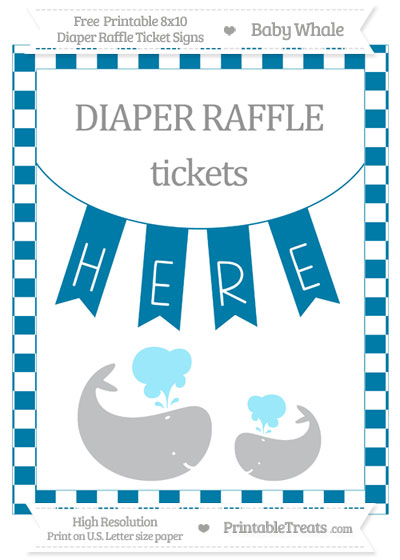 Free Cerulean Blue Checker Pattern Baby Whale 8x10 Diaper Raffle Ticket Sign