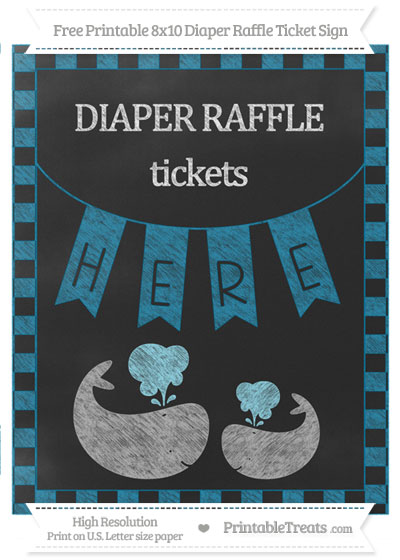 Free Cerulean Blue Checker Pattern Chalk Style Baby Whale 8x10 Diaper Raffle Ticket Sign