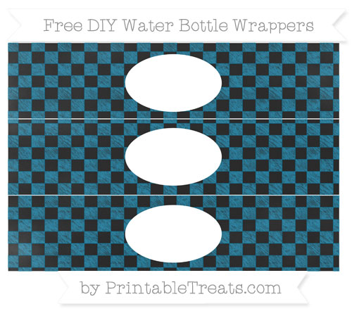 Free Cerulean Blue Checker Pattern Chalk Style DIY Water Bottle Wrappers