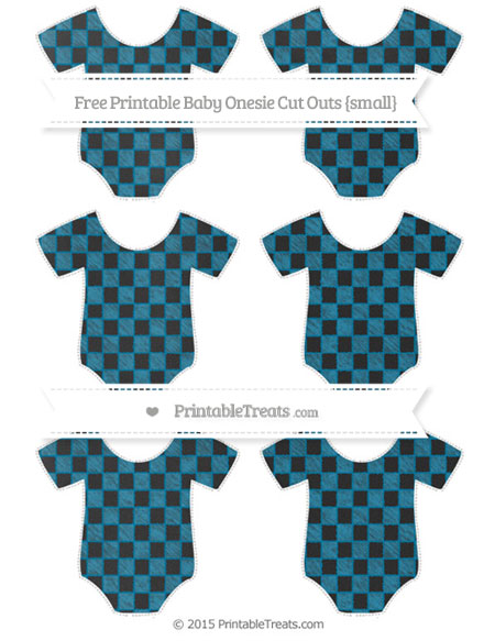 Free Cerulean Blue Checker Pattern Chalk Style Small Baby Onesie Cut Outs
