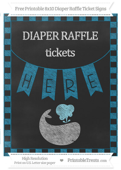 Free Cerulean Blue Checker Pattern Chalk Style Whale 8x10 Diaper Raffle Ticket Sign