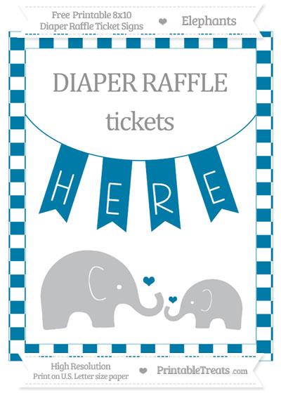 Free Cerulean Blue Checker Pattern Elephant 8x10 Diaper Raffle Ticket Sign