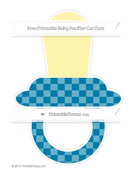 Free Cerulean Blue Checker Pattern Extra Large Baby Pacifier Cut Outs