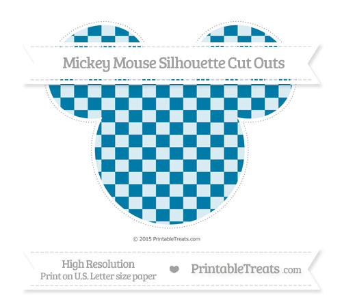 Free Cerulean Blue Checker Pattern Extra Large Mickey Mouse Silhouette Cut Outs