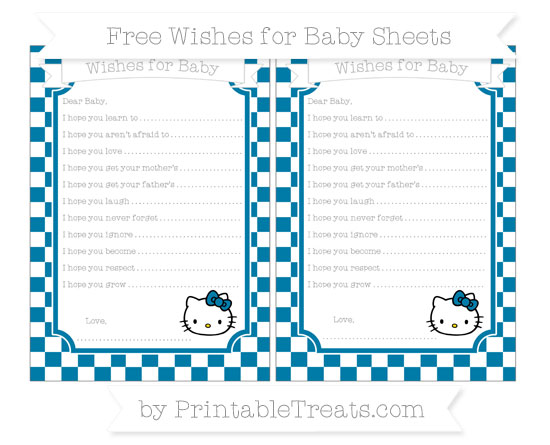 Free Cerulean Blue Checker Pattern Hello Kitty Wishes for Baby Sheets