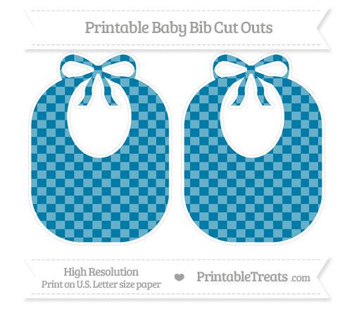 Free Cerulean Blue Checker Pattern Large Baby Bib Cut Outs