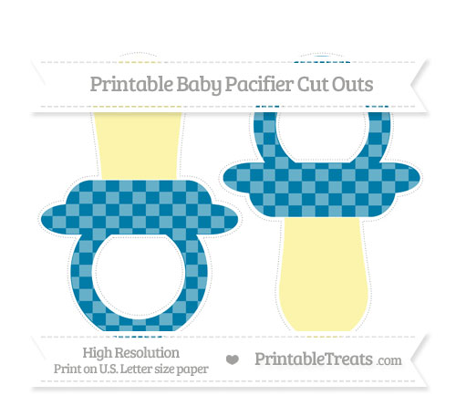Free Cerulean Blue Checker Pattern Large Baby Pacifier Cut Outs
