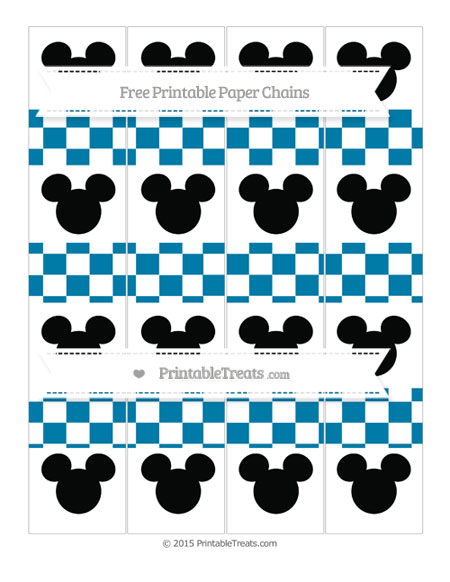 Free Cerulean Blue Checker Pattern Mickey Mouse Paper Chains