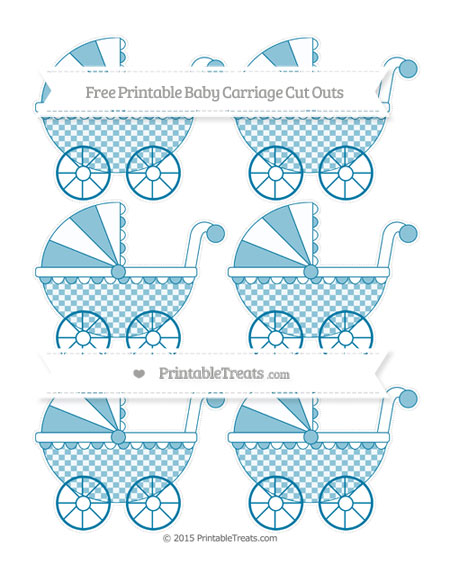 Free Cerulean Blue Checker Pattern Small Baby Carriage Cut Outs