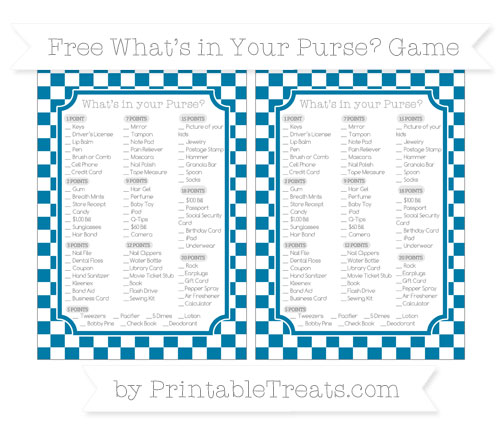 Free Cerulean Blue Checker Pattern What's in Your Purse Baby Shower Game