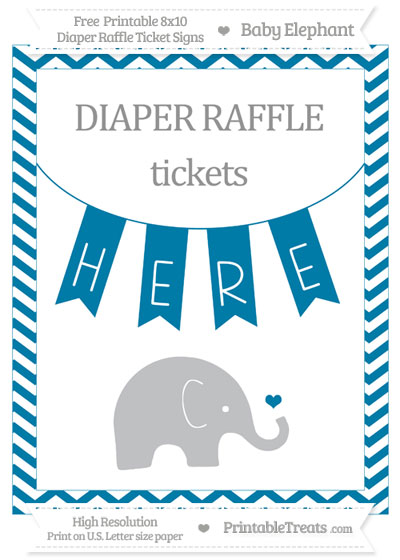 Free Cerulean Blue Chevron Baby Elephant 8x10 Diaper Raffle Ticket Sign