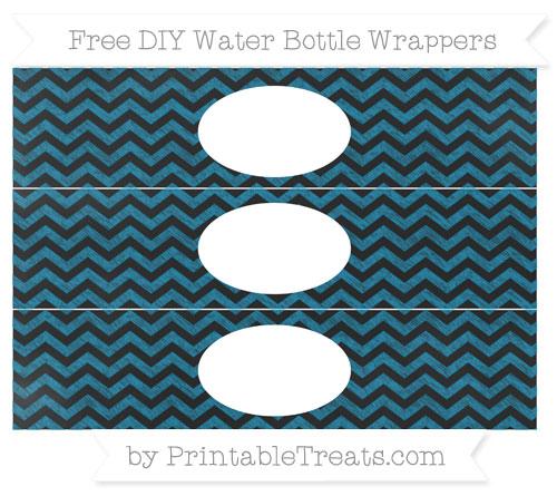 Free Cerulean Blue Chevron Chalk Style DIY Water Bottle Wrappers
