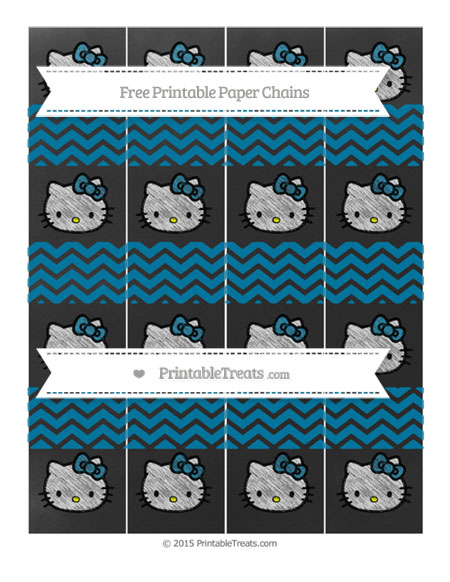 Free Cerulean Blue Chevron Chalk Style Hello Kitty Paper Chains