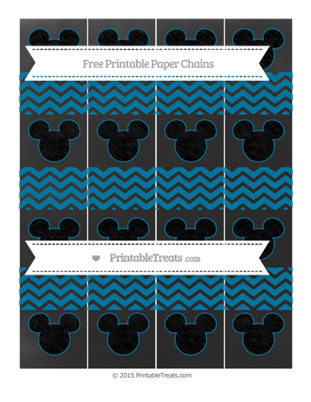 Free Cerulean Blue Chevron Chalk Style Mickey Mouse Paper Chains