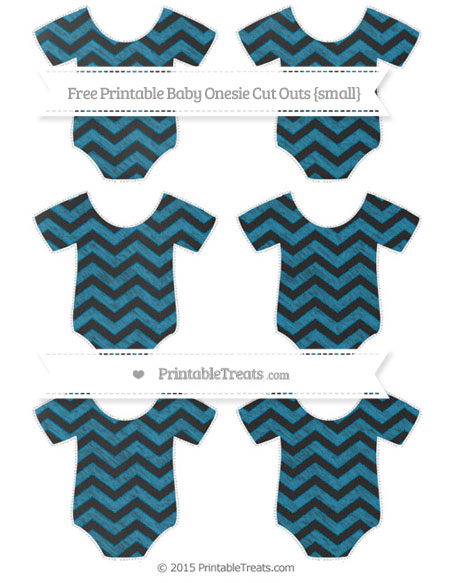 Free Cerulean Blue Chevron Chalk Style Small Baby Onesie Cut Outs