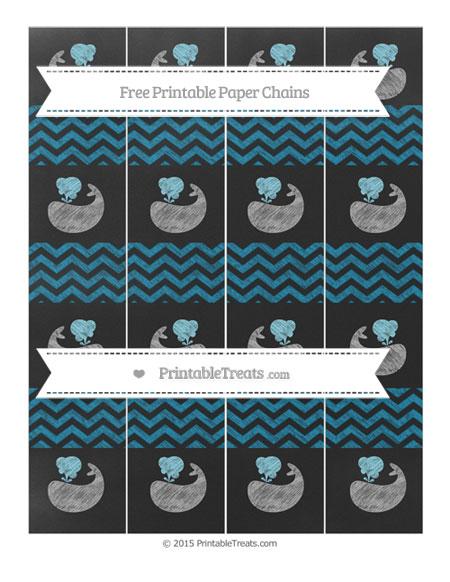 Free Cerulean Blue Chevron Chalk Style Whale Paper Chains