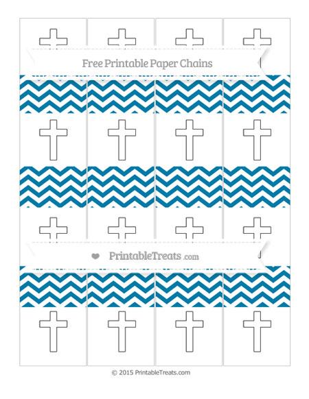 Free Cerulean Blue Chevron Cross Paper Chains