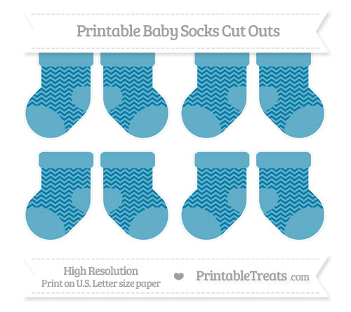 Free Cerulean Blue Chevron Small Baby Socks Cut Outs