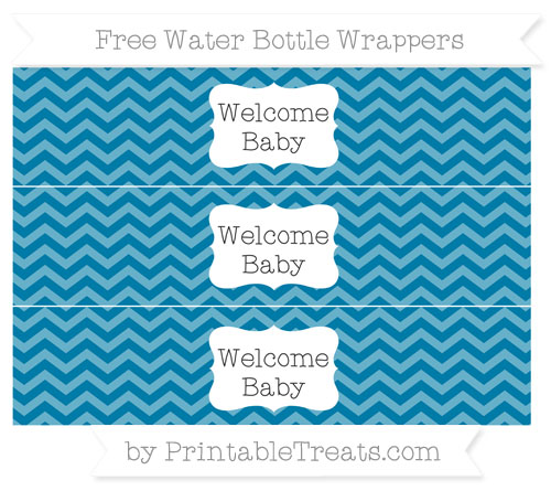 Free Cerulean Blue Chevron Welcome Baby Water Bottle Wrappers
