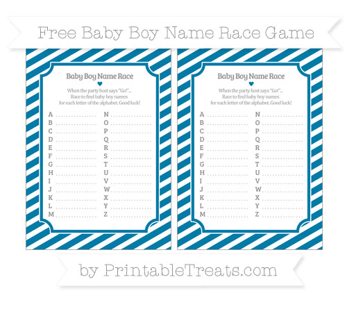 Free Cerulean Blue Diagonal Striped Baby Boy Name Race Game