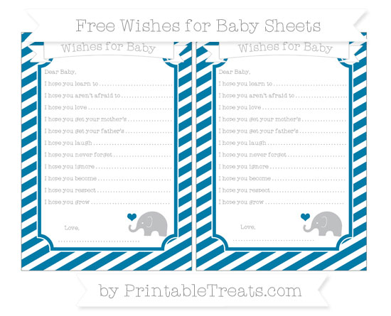 Free Cerulean Blue Diagonal Striped Baby Elephant Wishes for Baby Sheets