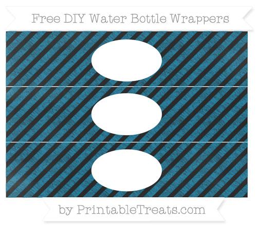 Free Cerulean Blue Diagonal Striped Chalk Style DIY Water Bottle Wrappers