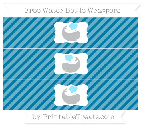 Free Cerulean Blue Diagonal Striped Whale Water Bottle Wrappers