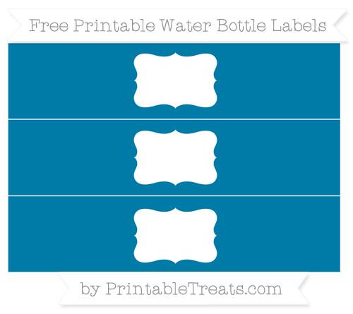 Free Cerulean Blue Water Bottle Labels