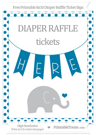 Free Cerulean Blue Dotted Baby Elephant 8x10 Diaper Raffle Ticket Sign