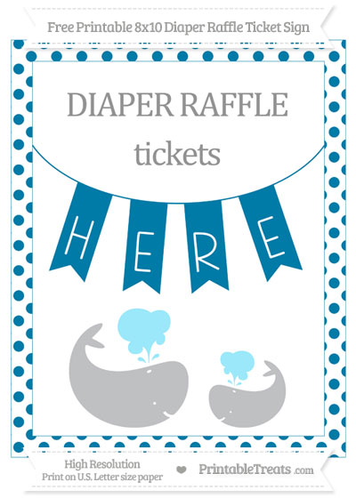 Free Cerulean Blue Dotted Baby Whale 8x10 Diaper Raffle Ticket Sign