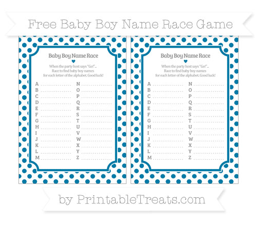 Free Cerulean Blue Dotted Pattern Baby Boy Name Race Game