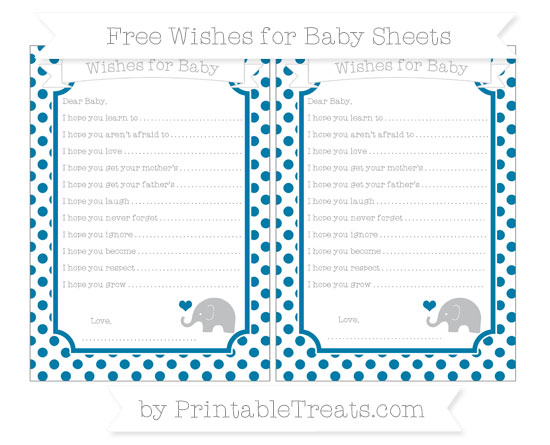 Free Cerulean Blue Dotted Pattern Baby Elephant Wishes for Baby Sheets
