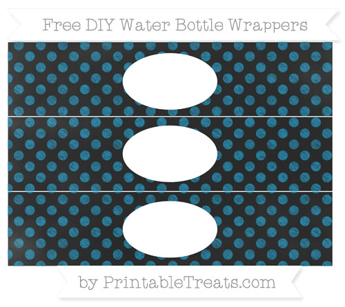 Free Cerulean Blue Dotted Pattern Chalk Style DIY Water Bottle Wrappers