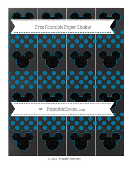 Free Cerulean Blue Dotted Pattern Chalk Style Mickey Mouse Paper Chains