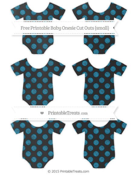 Free Cerulean Blue Dotted Pattern Chalk Style Small Baby Onesie Cut Outs