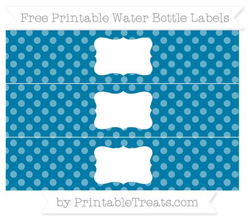 Free Cerulean Blue Dotted Pattern Water Bottle Labels