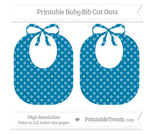 Free Cerulean Blue Dotted Pattern Large Baby Bib Cut Outs