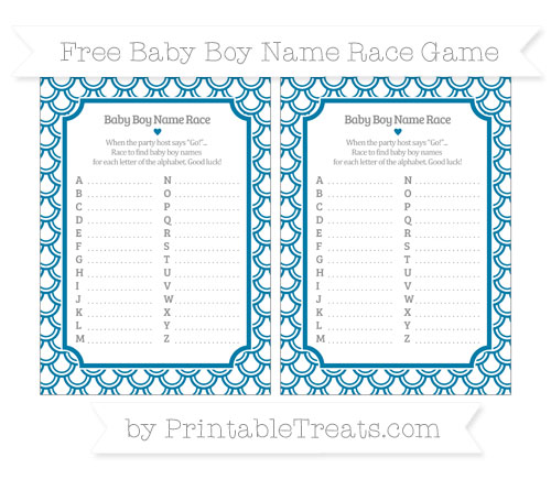 Free Cerulean Blue Fish Scale Pattern Baby Boy Name Race Game