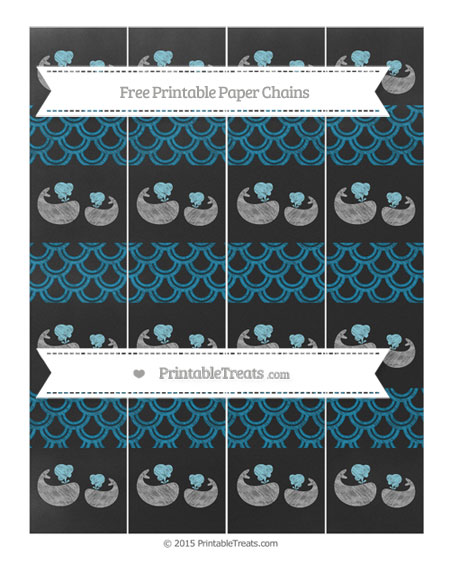 Free Cerulean Blue Fish Scale Pattern Chalk Style Baby Whale Paper Chains