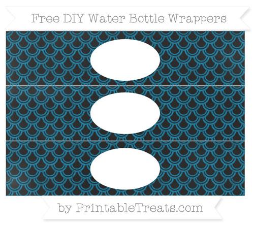 Free Cerulean Blue Fish Scale Pattern Chalk Style DIY Water Bottle Wrappers