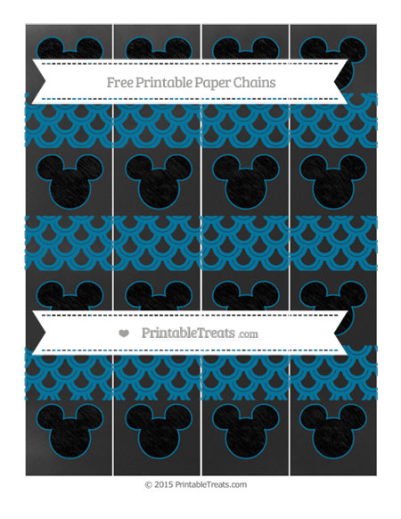 Free Cerulean Blue Fish Scale Pattern Chalk Style Mickey Mouse Paper Chains