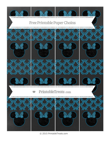 Free Cerulean Blue Fish Scale Pattern Chalk Style Minnie Mouse Paper Chains