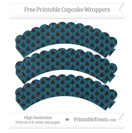 Free Cerulean Blue Fish Scale Pattern Chalk Style Scalloped Cupcake Wrappers