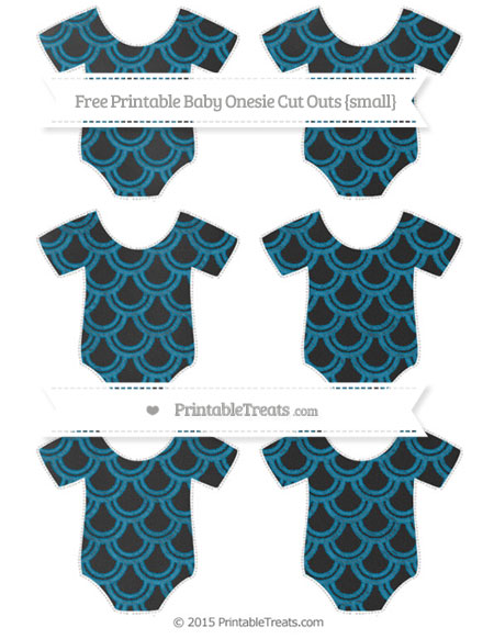 Free Cerulean Blue Fish Scale Pattern Chalk Style Small Baby Onesie Cut Outs