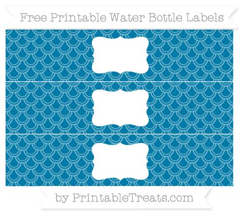 Free Cerulean Blue Fish Scale Pattern Water Bottle Labels