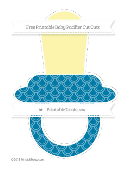 Free Cerulean Blue Fish Scale Pattern Extra Large Baby Pacifier Cut Outs