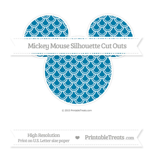 Free Cerulean Blue Fish Scale Pattern Extra Large Mickey Mouse Silhouette Cut Outs