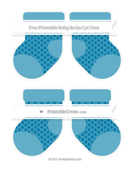 Free Cerulean Blue Fish Scale Pattern Medium Baby Socks Cut Outs