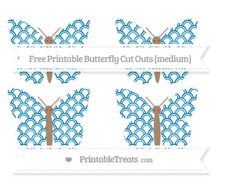 Free Cerulean Blue Fish Scale Pattern Medium Butterfly Cut Outs