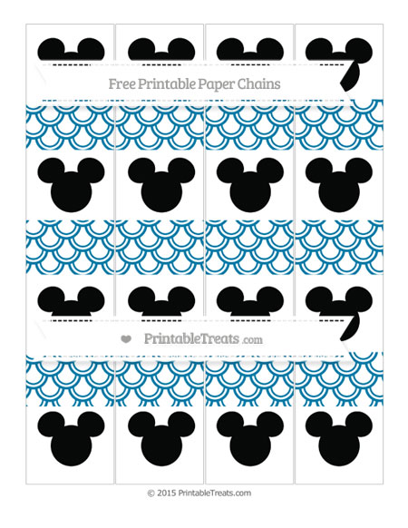 Free Cerulean Blue Fish Scale Pattern Mickey Mouse Paper Chains